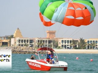 10 minutes solo parasailing including fullpool & Beach Access for AED 350