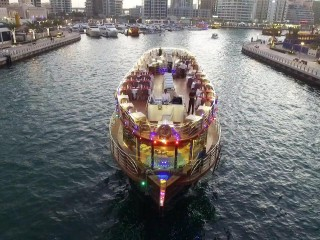 Dhow Cruise dinner with transportation at Dubai Creek for AED 63