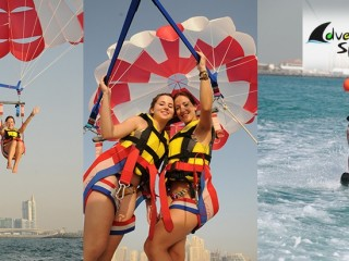 10 minutes Tandem parasailing including fullpool & Beach Access for AED 550