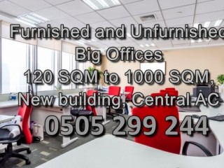 Furnished and Unfurnished Big Offices (Commercial) 50 SQM to 1000 SQM, New building, Central AC