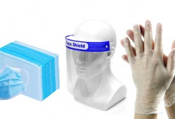 Vinyl Disposable Gloves + Face Mask + Face Shield just for AED 90