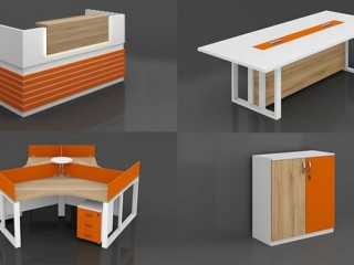 New Arrival Orange Full Office Furniture Collection Set - Highmoon Office Furniture