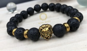 Natural Lava Stone with Golden Lion Bead Bracelet.