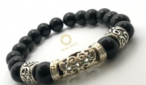 Black Onyx Exotic Beaded Bracelet.