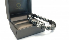 HEMATITE AND NATURAL LAVA STONE WITH SILVER TIGER